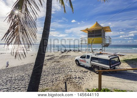 Lifeguard tower at Coolangatta, Gold Coast, Queensland, Australia