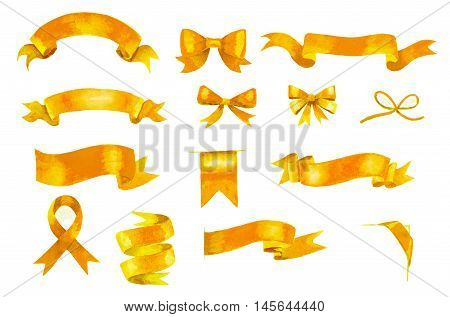 set of hand painted golden watercolor ribbons and bows