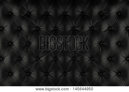 English black genuine leather upholstery, chesterfield style background. 3D rendering