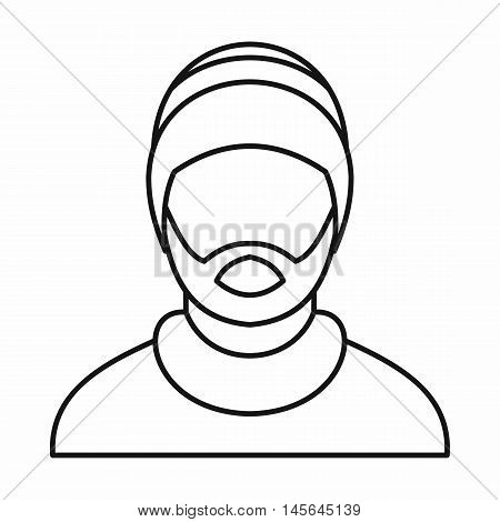 Man wearing rastafarian hat icon in outline style isolated on white background. Vector illustration