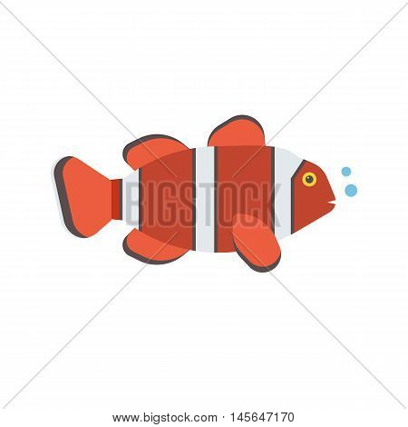 Tropical red coral fish vector icon. Striped colorful clown-fish illustration.