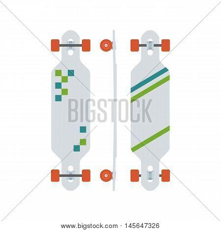 Modern longboard from different sides. Long skateboard set with red wheels. Skateboarding lifestyle. Skate desk vector icon in flat design. Long board illustration.