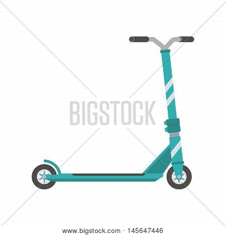 Push scooter vector illustration. Balance bike in green color isolated on white background. Kick cycle flat design icon. Modern city ecological transport.
