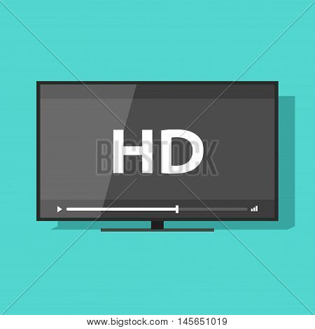 Flat screen tv with HD video label vector icon, led television display with high definition digital technology symbol