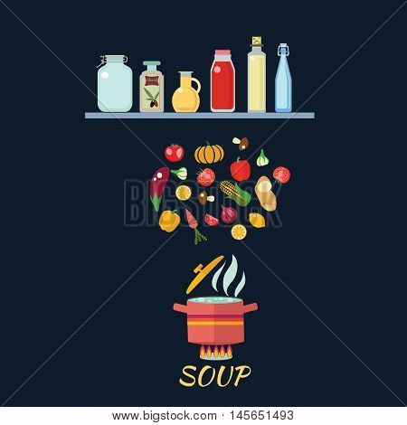 Cooking background with vegetables. Boiled water in pan. Vegetables in hot water. Soup recipe in flat cartoon style illustration