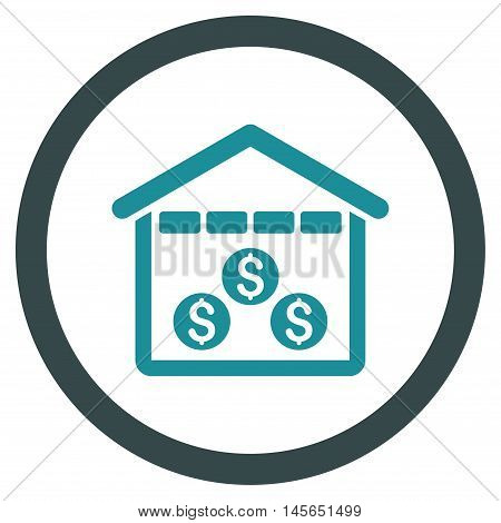 Money Depository vector bicolor rounded icon. Image style is a flat icon symbol inside a circle, soft blue colors, white background.