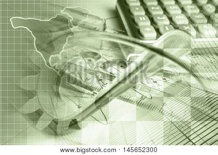 Financial background in sepia with map calculator graph gear and buildings.