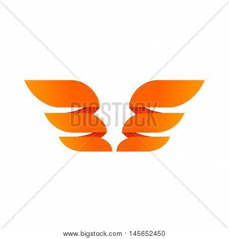 Two wings emblem vector isolated on white background, flat wing logo element, creative trendy design