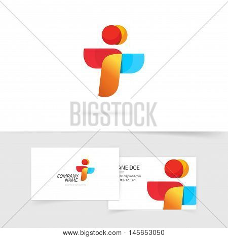 Two people vector logo and business card design, abstract flying birds symbol, letter i and t logo concept, wings social payment icon concept, friends logotype, teamwork symbol, airlines success