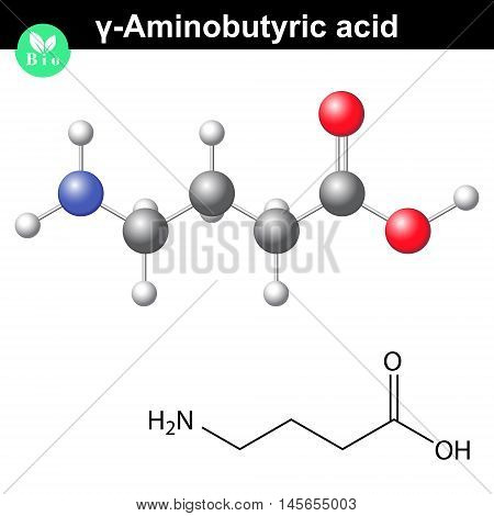 gamma Aminobutyric acid - synaptic neurotransmitter chemical structure 2d and 3d illustration vector on white background eps 8