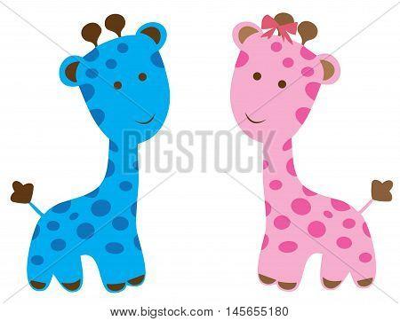 vector illustration of cute baby shower giraffes