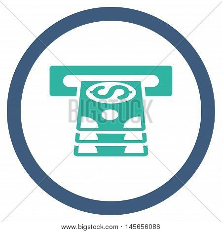 Bank Cashpoint vector bicolor rounded icon. Image style is a flat icon symbol inside a circle, cobalt and cyan colors, white background.