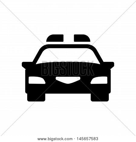 Police car icon. Silhouette flat design vector illustration