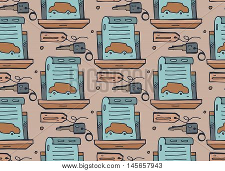 Vector seamless pattern on the theme of transport. Pattern for car saleauto repeircar servise. Background for use in design web site packing textile fabric.