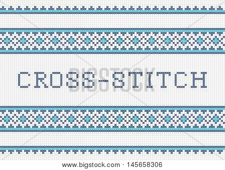 Decorative cross stitch needlework vector design. Cross-stitch.