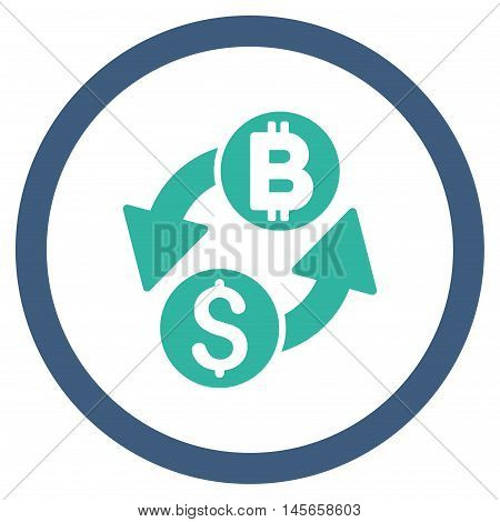 Dollar Bitcoin Exchange vector bicolor rounded icon. Image style is a flat icon symbol inside a circle, cobalt and cyan colors, white background.