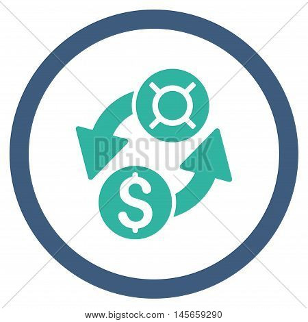 Dollar Currency Exchange vector bicolor rounded icon. Image style is a flat icon symbol inside a circle, cobalt and cyan colors, white background.