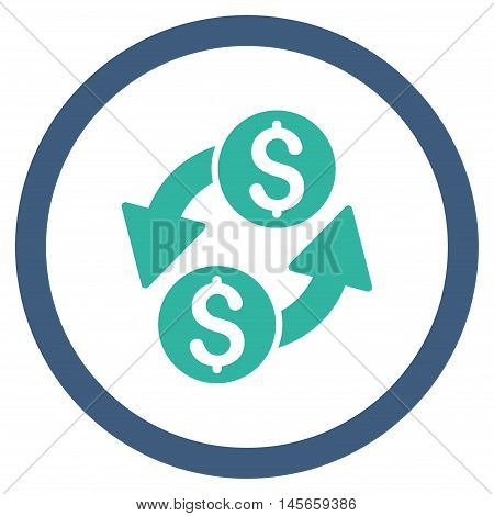 Dollar Exchange vector bicolor rounded icon. Image style is a flat icon symbol inside a circle, cobalt and cyan colors, white background.