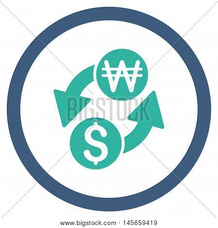 Dollar Korean Won Exchange vector bicolor rounded icon. Image style is a flat icon symbol inside a circle, cobalt and cyan colors, white background.