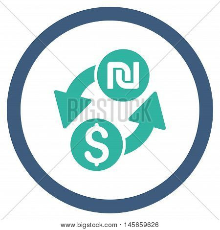 Dollar Shekel Exchange vector bicolor rounded icon. Image style is a flat icon symbol inside a circle, cobalt and cyan colors, white background.