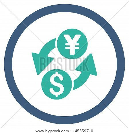 Dollar Yen Exchange vector bicolor rounded icon. Image style is a flat icon symbol inside a circle, cobalt and cyan colors, white background.