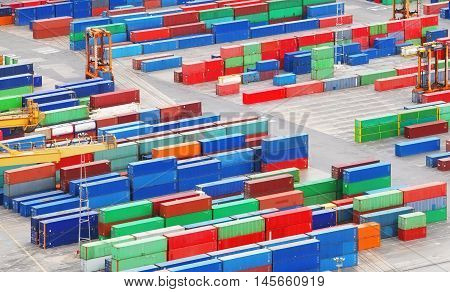 Cargo freight containers in a sea port.