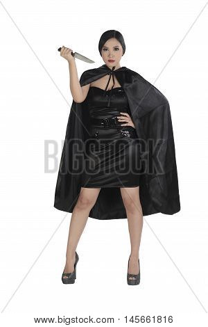 Beauty Asian Witch Woman Holding Knife
