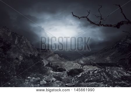 Cloudy Sky On The Rock Mountain Background