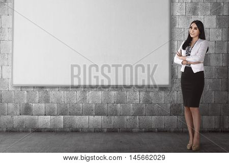 Success Business Woman Wearing Formal Dress Pose With Blank Board