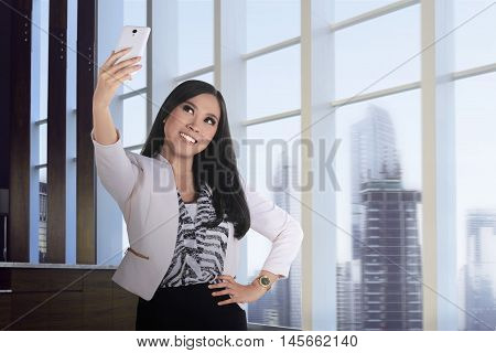 Asian Business Woman Take Selfie