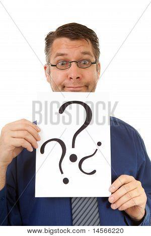 Male Nerdy Geek Is Holding Text Board
