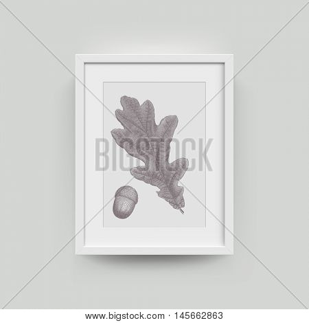 Picture frame with botanical illustration of oak autumn leaf engraving. Vector realistic paper plastic white framing mat with wide borders shadow. Isolated picture frame A4 vertical mockup template
