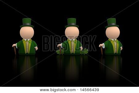 Irish Icon Person For St Patricks Day - Black Version Render