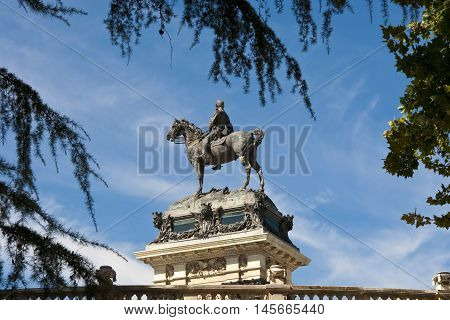 Detail of Monument to King Alfonso XII, located in Retiro Park, Madrid, Spain . The monument is 30 meters high, 86 meters long, and 58 meters wide and was designed by Jose Grases Riera, and inaugurated on June 6, 1922