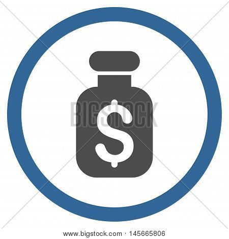 Business Remedy vector bicolor rounded icon. Image style is a flat icon symbol inside a circle cobalt and gray colors white background.