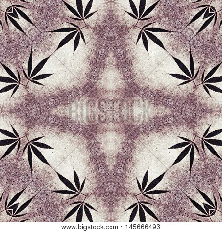 Ganja leaves symmetrical marble star hippie background