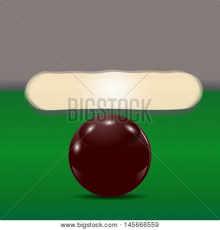 Dark brown ball on a billiard table. The cue ball in front of broken pyramid. Vector illustration