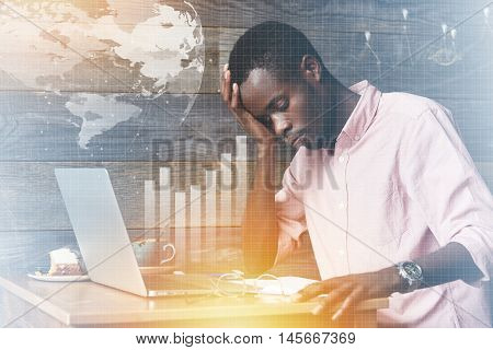 Double Exposure Of African Corporate Worker, Looking Worried And Concerned About Making Mistake In F