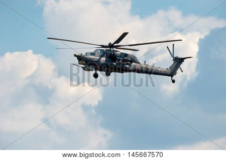 MOSCOW REGION RUSSIA - APRIL 20 2016: Russian Air Force Mi-28