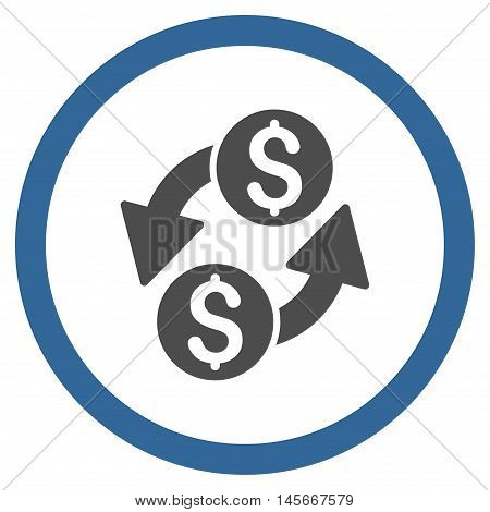 Dollar Exchange vector bicolor rounded icon. Image style is a flat icon symbol inside a circle, cobalt and gray colors, white background.