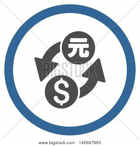 Dollar Yuan Exchange vector bicolor rounded icon. Image style is a flat icon symbol inside a circle, cobalt and gray colors, white background.