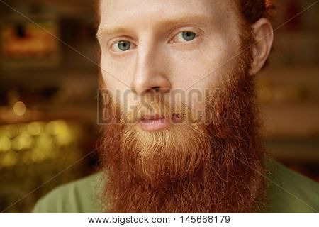 Cropped View Of Handsome 25-year Old Freelancer With Long Red Beard, Moustache And Freckled Skin Wea