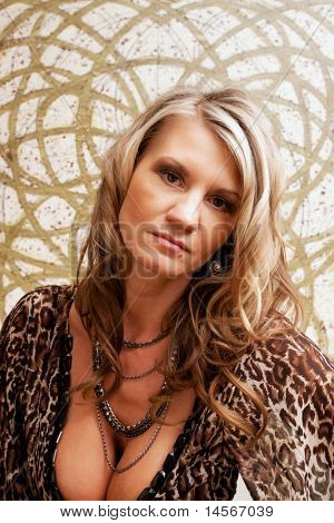 Beautiful mature woman fashion portrait