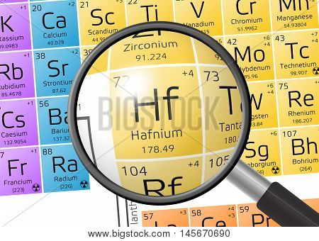 Element Of Hafnium With Magnifying Glass