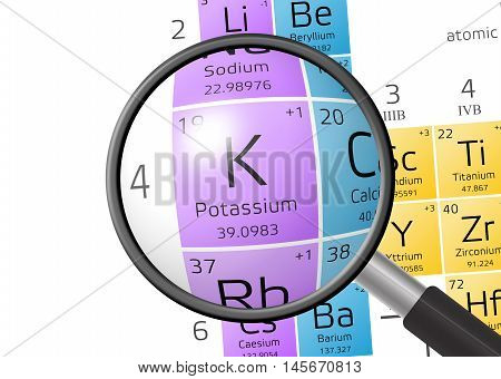 Element Of Kalium Or Potassium With Magnifying Glass
