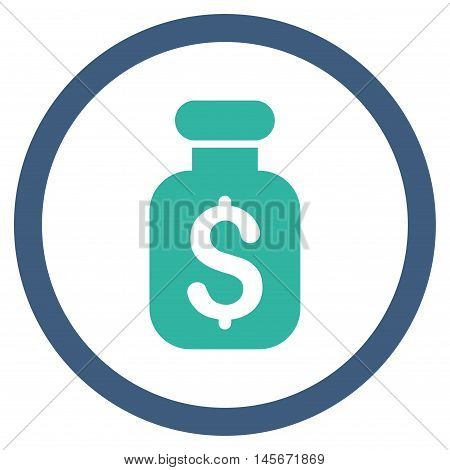 Business Remedy vector bicolor rounded icon. Image style is a flat icon symbol inside a circle, cobalt and cyan colors, white background.