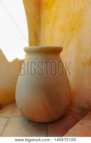 Typical mediterranean terracotta pot and walls Provence France