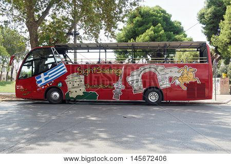Thessaloniki, Greece - September 04 2016: Thessaloniki Sightseeing Hop-On bus. Thessaloniki Sightseeing Hop-On Hop-Off bus stops departs from the White Tower landmark and stops at 8 stations.