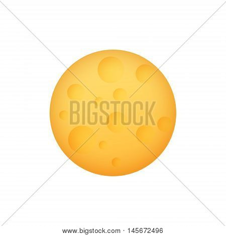 Yellow Moon, Space Planet with Craters Isolated on White Background, Vector Illustration