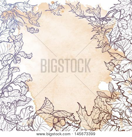 Fall Festival frame or border. Greeting card, flyer or poster template. Sketch style autumn leaves isolated on grunge background. Elaborate hand drawing. Vintage design. EPS10 vector illustration.